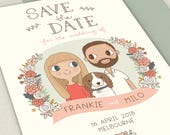 Save the Date Invitation     Custom Couple Portrait Illustration 5x7 or A5