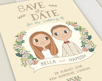 Custom Save the Date |  Couple Portrait Illustration 5x7