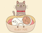 Pet Baby Stats, Baby Announcement, Dog, Cat
