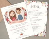 Custom Wedding Invitation |  Couple Portrait Illustration 5x7 or A5