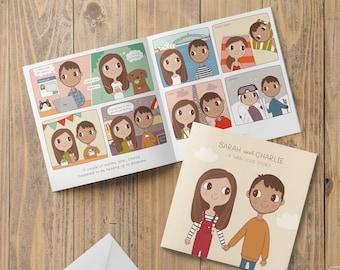 Love Story Wedding Invitation - Comic Book Invite - Illustrated Couple Portrait