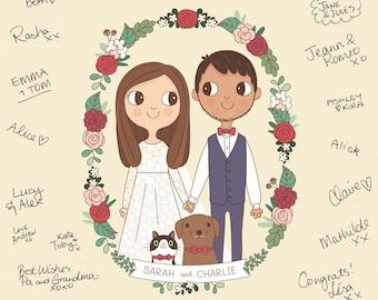 Wedding Guest Book Print |  Custom Couple Portrait Illustration A3