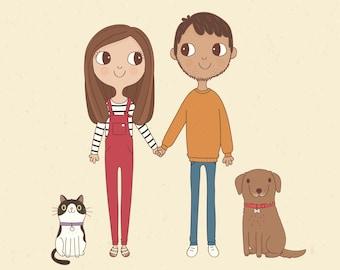 Custom Couple Portrait Illustration | Personalised Digital Print 8x10 or A4