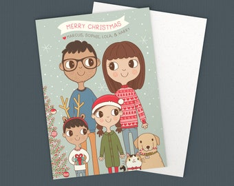 Custom Family Christmas Card, Happy Holidays, Portrait Illustration, 5x7