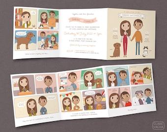 A Little Love Story Wedding Invitation |  Custom Couple Portrait Illustration