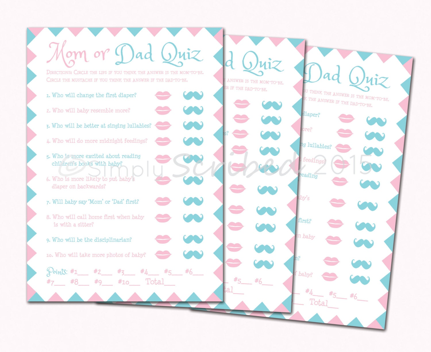 Printable Baby Shower Game Mom Or Dad Trivia Lips And Etsy