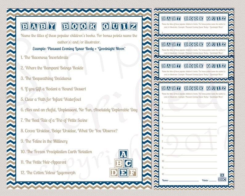 Printable Baby Shower Game Baby Book Quiz Navy And Gold Etsy