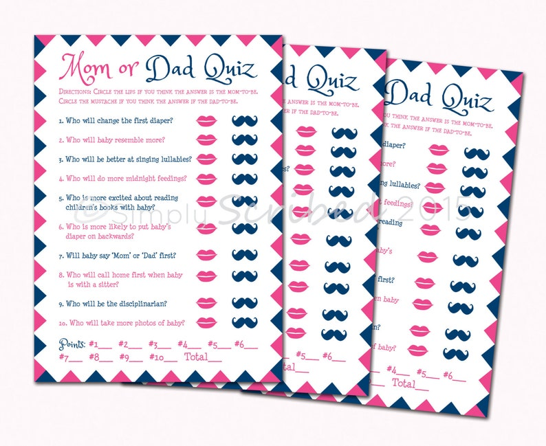 Printable Baby Shower Game Mom Or Dad Trivia Navy Blue And Etsy