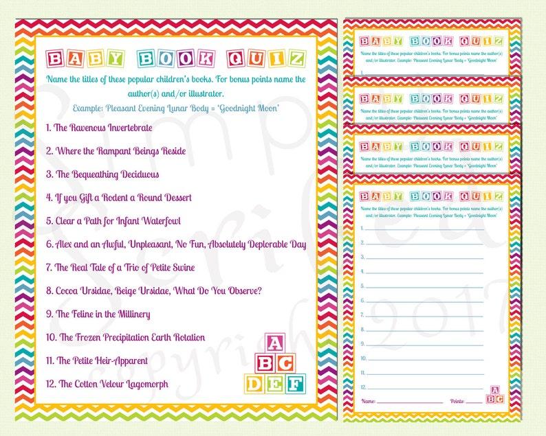 picture regarding Printable Baby Book named Printable Boy or girl Shower Activity - Boy or girl E book Quiz - Rainbow