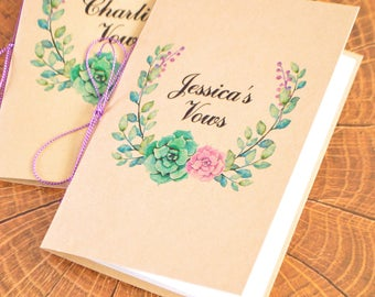 Personalized wedding Vows books, wedding vows booklet, his and her vow books, vow notebook, wedding promises, wedding vow keepsake, SET OF 2