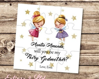 Will you be my Fairy Godmother gift card Godmother puzzle Asking Godmother proposal Christening gift Baptism gift be my Godparents gift card