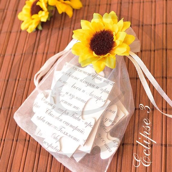 Wedding Invitations Yellow Sunflowers Puzzle Sunflower
