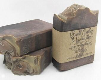 Black Amber & Lavender Natural Homemade Goat Milk Soap ~ Handmade Soaps by Hickory Ridge Soap Co.