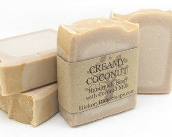 Natural, Handmade Creamy Coconut Milk Artisan Soap (Vegan)  - Homemade Soap by Hickory Ridge Soaps