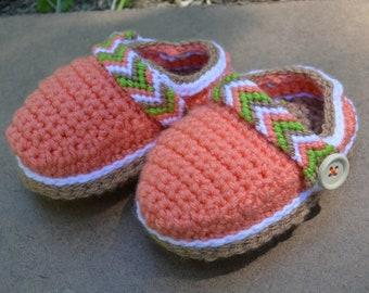 Orange Hand Crochet Baby Crocs