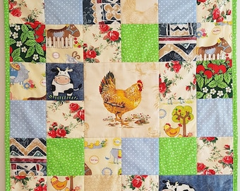Pram and Cradle Crib Quilt with farm animals, Baby Pacthwork quilt, handmade cotton baby blanket, baby shower gift, gender neutral