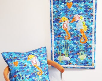 Tapestry and decorative pillow SEAHORSES, linen, patchwork quilt wall hanging quilt and cushion