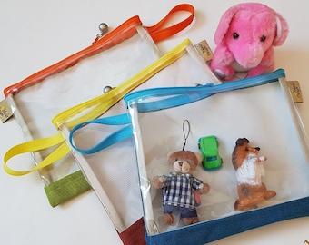 Clear zipper pouch, travel bag for kids, transparent airport security pouch, travel organizer purse bag, pvc vegan crystal clear bag
