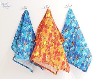 Kitchen towels set, 3 pc, linen, orange & blue