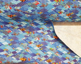 Linen fabric (100% linen), digital printing, blue