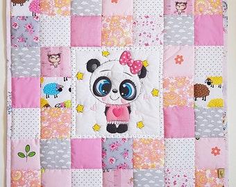 Krabbeldecke, Baby Crib Quilt with Panda, Baby Pacthwork quilt blanket, handmade baby shower gift gor girls