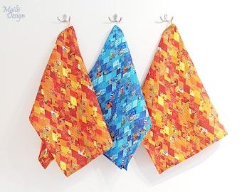 Kitchen towels set, 3 pc, linen, orange & blue,