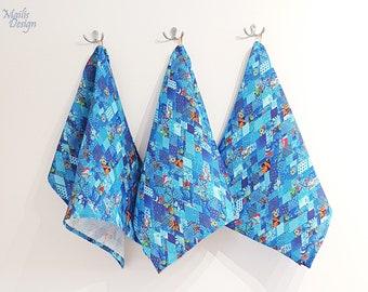 Kitchen towel, linen, blue