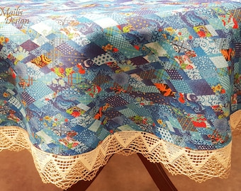 Linen tablecloth with lace, round 160 cm, blue