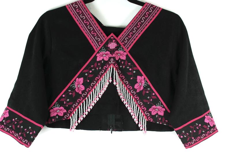 Bohemian Hmong Hand Embroidered Bolero with Beaded Tassel Fringe Exquisite Handmade Shrug