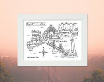 Hand drawn Souvenir Map - Personalised with 5 locations - Holiday Travel Map - Memento - Keepsake
