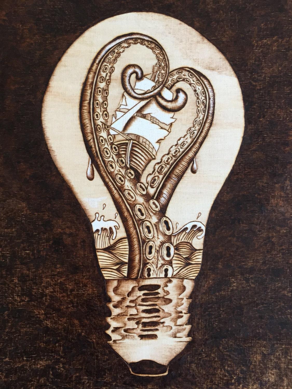 octopus art light bulb art wood burning nautical etsy. Black Bedroom Furniture Sets. Home Design Ideas