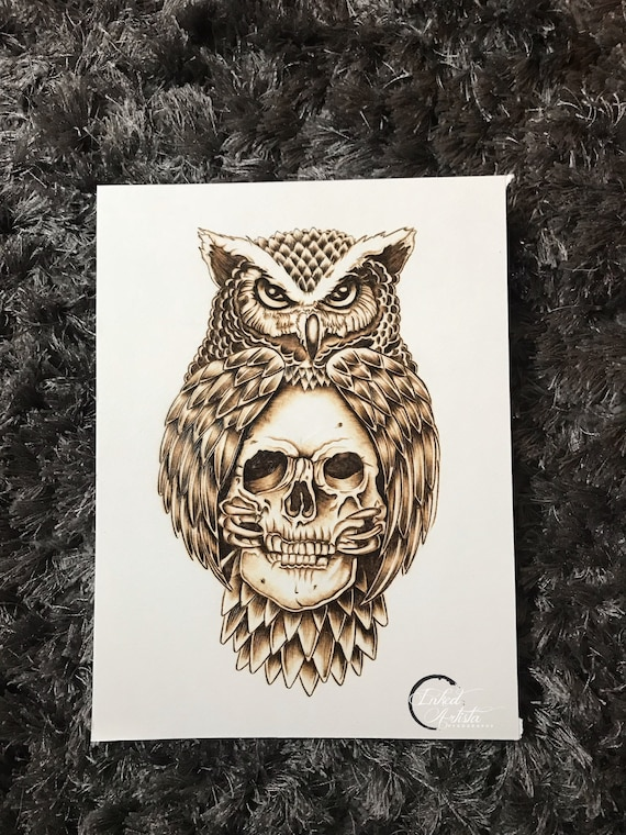 Owl Skull Tattoo Art Pyrography On Paper Pyrography Art Etsy