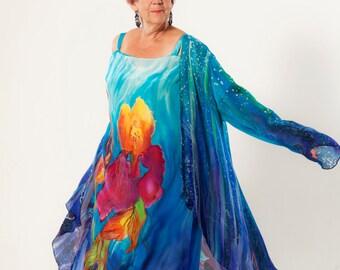 Hand painted Silk Jacket HandPainted Plus size Natural Silk Chiffon Tunic Blue purple Īrises Love Gift for her Soft Silk