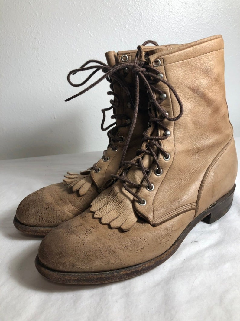 4c278946545ff Men Size 8 1/2 Vintage Justin boots 90s Brown Work Boots--Made in USA