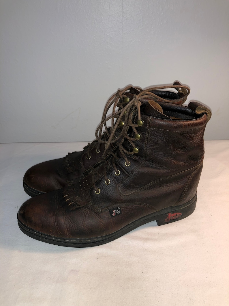 474f83bf3e9c1 Men Size 12 Vintage Justin Leather Brown Roper Work Boots With Oil  Resistant Soles