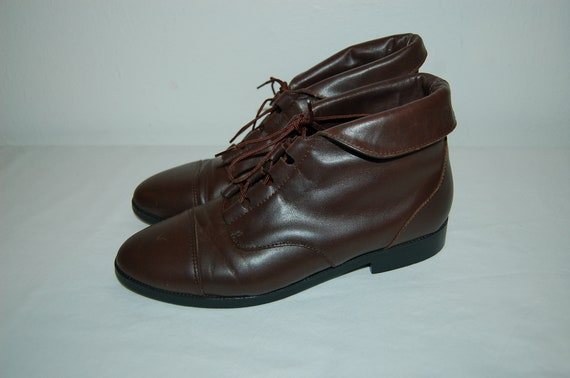 1 Vintage Women Prima Royale 6 2 Leather Booties Ankle Brown Size Lace Up rZFcF4E