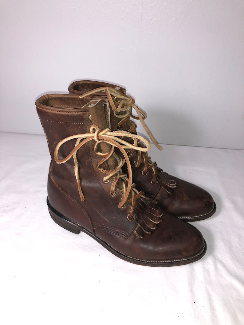 b231dc0cfda Women Size 5 Vintage Justin Rustic Brown Leather Roper Boots