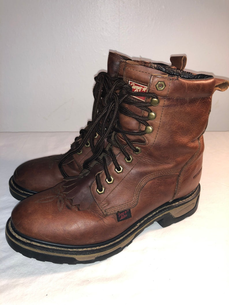 b57a17e2c3935 Men Size 8 1/2 Vintage Tony Lama boots 90s Brown Work Boots with Oil  Resistant Boots