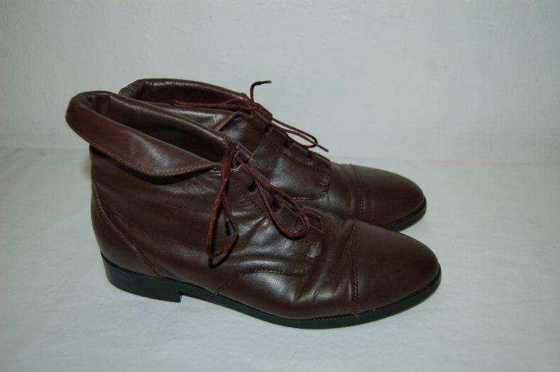 ed0d444876788 Women Size 6 1/2 Vintage Prima Royale Brown Leather Lace Up | Etsy