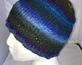 00913ba0c85 Hiking Hat- hand knit with Noro yarn. Adult size. Ready to ship!