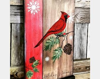 Free shipping Custom rustic Cardinal,chickadee or finch winter bird sign. Rustic farmhouse top and bottom framed sign. Custom sidebar color.