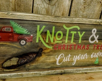 Framed Holiday sign Knotty & Nice Christmas Tree Farm, Red Truck sign : free shipping