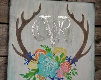 Rustic floral antler monogram - customized bedroom wall art