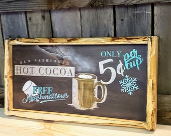 Vintage inspired Hot Cocoa sign: ONE of -sign Ready Made Ready to ship quick gift. Framed wood sign