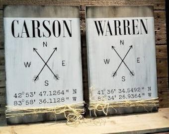 Rustic Wood custom GPS address sign. Free Shipping. Custom address or favorite place.