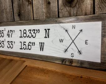 Custom wood Geo location coordinate sign. Rustic farmhouse style.