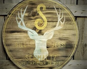 Deer head BUCK Family style wooden round sign {shipping included}