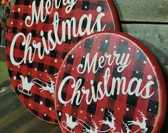 Merry Christmas Santa sleigh and reindeer wood round. Free shipping