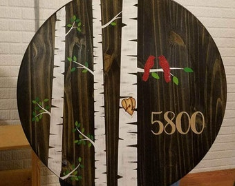 Birds and Birches custom wood round sign {shipping included}. Wedding Est. date or Address sign. Welcome sign.  CUSTOMIZE your text.