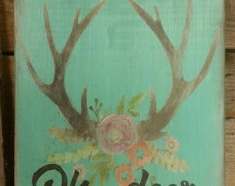 Oh, deer. Rustic Antlers and flowers wood sign
